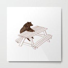 Picnic Bear Metal Print