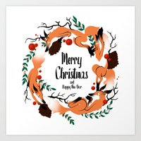 merry christmas Art Prints featuring Merry Christmas by Anya Volk