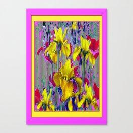 Wild Mustard Yellow Iris Fuchsia-Purple-Pink Pattern Abstract Canvas Print