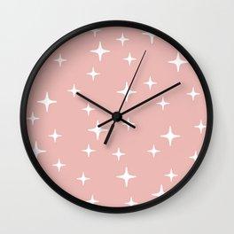 Mid Century Modern Star Pattern 443 Dusty Rose Wall Clock