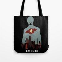 tony stark Tote Bags featuring Tony Stark by offbeatzombie