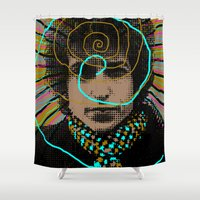 bob dylan Shower Curtains featuring Bob Dylan Goin' Nowhere by Matt Crave