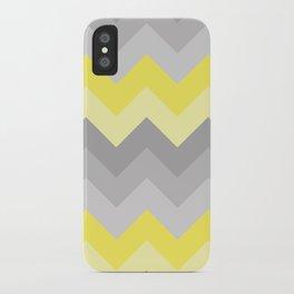 Yellow Grey Gray Ombre Chevron iPhone Case