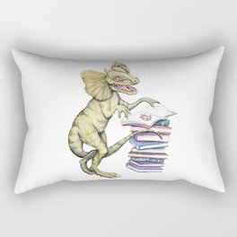 Dilophosaurus Loves Books Rectangular Pillow