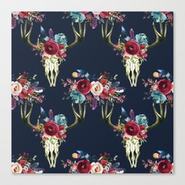Boho Skull and Floral on Navy Canvas Print