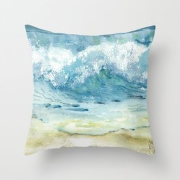 Ocean Waves Solana Beach Throw Pillow