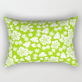 Hawaiian Hibiscus Flower pattern green Rectangular Pillow