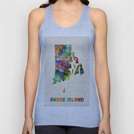 Rhode Island Watercolor Map Unisex Tank Top