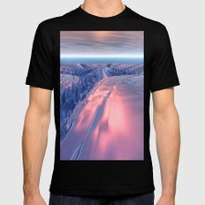Fractal Glacier Landscape MEDIUM Black Mens Fitted Tee