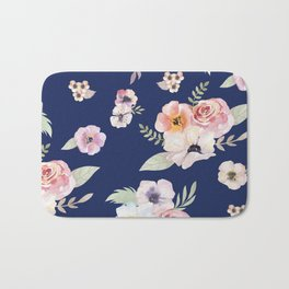 Floral I - Dark New Navy Bath Mat