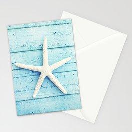 Starfish Beach Photography, Aqua Seashell Art, Coastal Nautical Photograph Stationery Cards