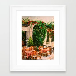 Greek Cafe Framed Art Print