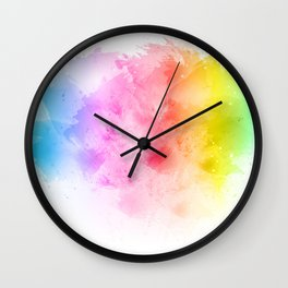 Rainbow abstract artistic watercolor splash background Wall Clock