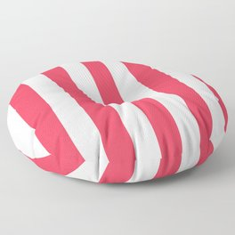 Sizzling Red pink - solid color - white vertical lines pattern Floor Pillow