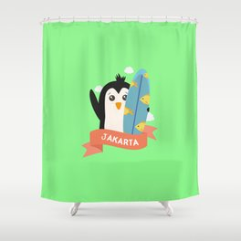 Penguin Surfer from Jakarta T-Shirt for all Ages Shower Curtain
