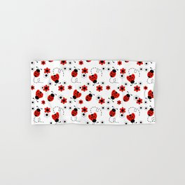 Red Ladybug Floral Pattern Hand & Bath Towel