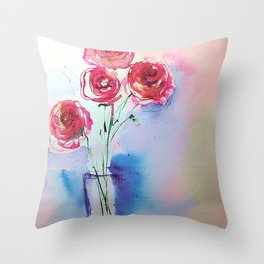 Watecolor Red Roses - Minimalist Art Throw Pillow
