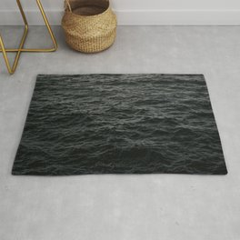 GRAYSCALE PHOTO OF BODY OF WATER Rug