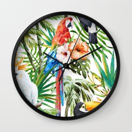 Tropical Bird Pattern 06 Wall Clock