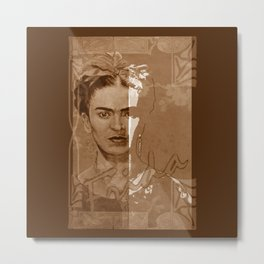 Frida Kahlo - between worlds - sepia Metal Print