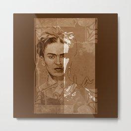 Frida Kahlo - between worlds - sepia Metal Print