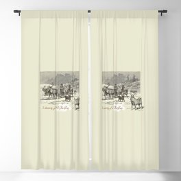 Nothern winter scene with Dogs and Reindeers team Blackout Curtain