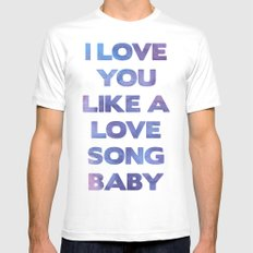 Love you like a Love song MEDIUM White Mens Fitted Tee