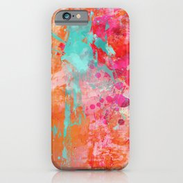 Paint Splatter Turquoise Orange And Pink iPhone Case