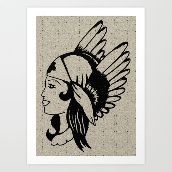 Angel of Mercy, Traditional American Tattoo Design Art Print