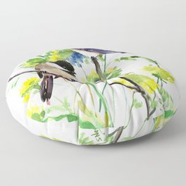 chickadees and Spring Blossom Floor Pillow