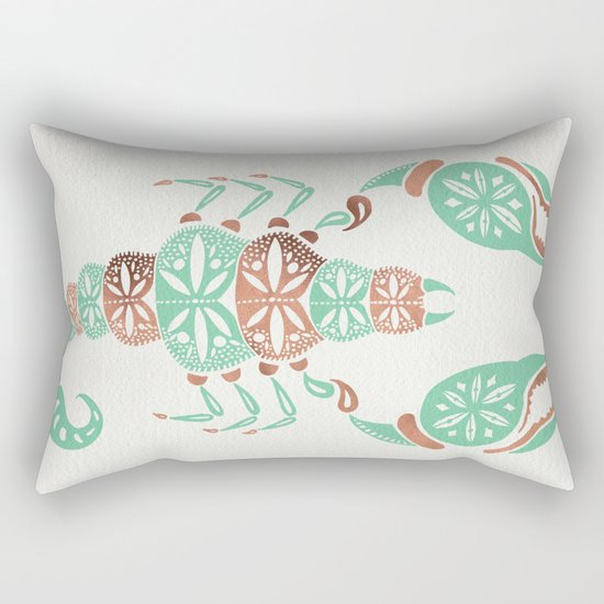 Scorpion – Mint & Rose Gold Rectangular Pillow
