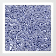 Swirls Blue Art Print