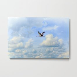 Flying stork Metal Print