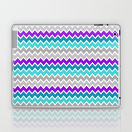 Teal Turquoise Blue Purple Grey Gray Chevron  Laptop & iPad Skin
