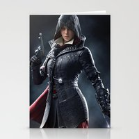assassins creed Stationery Cards featuring Female Assassins Creed by Tom Lee
