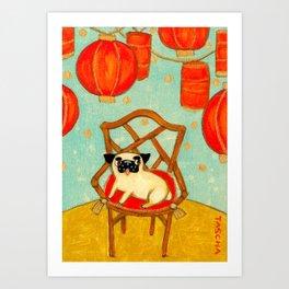 Chinese New Year Happy Year of the Dog pug celebration painting Art Print