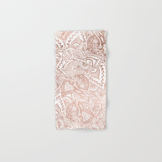 Chic hand drawn rose gold floral mandala pattern Hand & Bath Towel