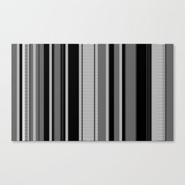 Vertical Stripes # 3 in black, gray and white Canvas Print