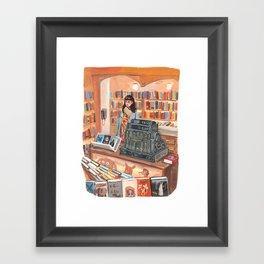 The Corner Bookstore Framed Art Print
