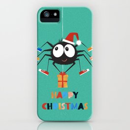 Happy Christmas Santa Spider iPhone Case