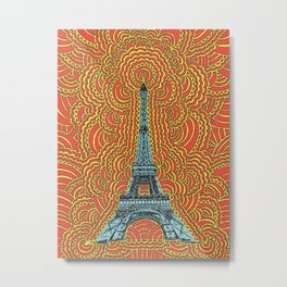 Eiffel Tower Drawing Meditation - Blue/Red/Yellow Metal Print
