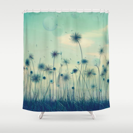 whimsical indigo dandelion flower garden shower curtain by
