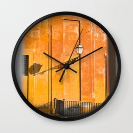 Yellow and orange architecture in The Vatican City, Italy | Travel photography | On vacation in Rome Wall Clock