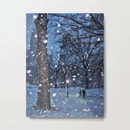 A couple walking in New York City's Central Park on a winter night Metal Print