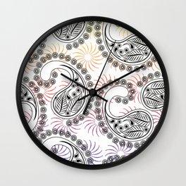 Funky Pinwheel Paisley Design Wall Clock