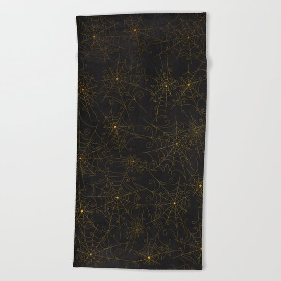 Autumn-world 4 - gold spiderwebs on chalkboard Beach Towel