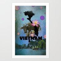 vietnam Art Prints featuring VIETNAM by kaysedilla