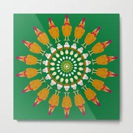 Chicken Cluster Mandala Design Metal Print