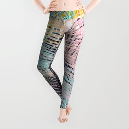 Jungle pampa colorful forest. Tropical fresh forest pattern with palms Leggings