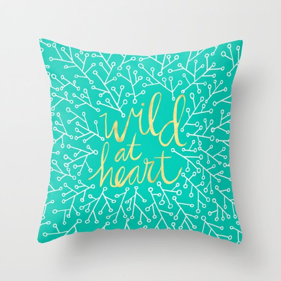 Wild at Heart – Turquoise Throw Pillow